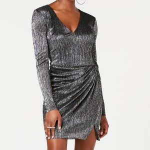 NWT Guess metallic gathered skirt dress M